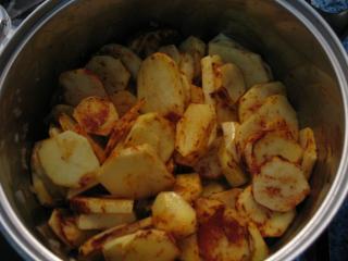 Dünsten von Kartoffeln