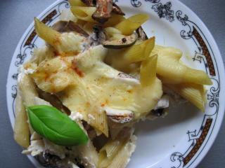 Auflauf aus Rigate mit Pilzen