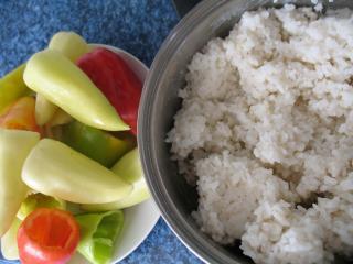 Zubereitung Reis und Paprika