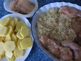 Zubereitung von Hühnerbrust und Kartoffeln