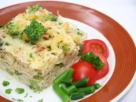 Überbackene Nudeln mit Brokkoli