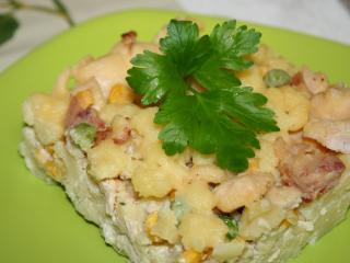 Eingebackene Kartoffelnocken mit Hühnerfleisch