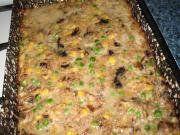 Champignons-Fleisch Hackbraten mit Erbsen und Mais