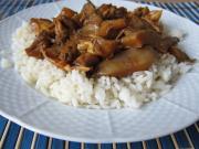 Gedünsteter Austernpilz mit Hühnchenfleisch