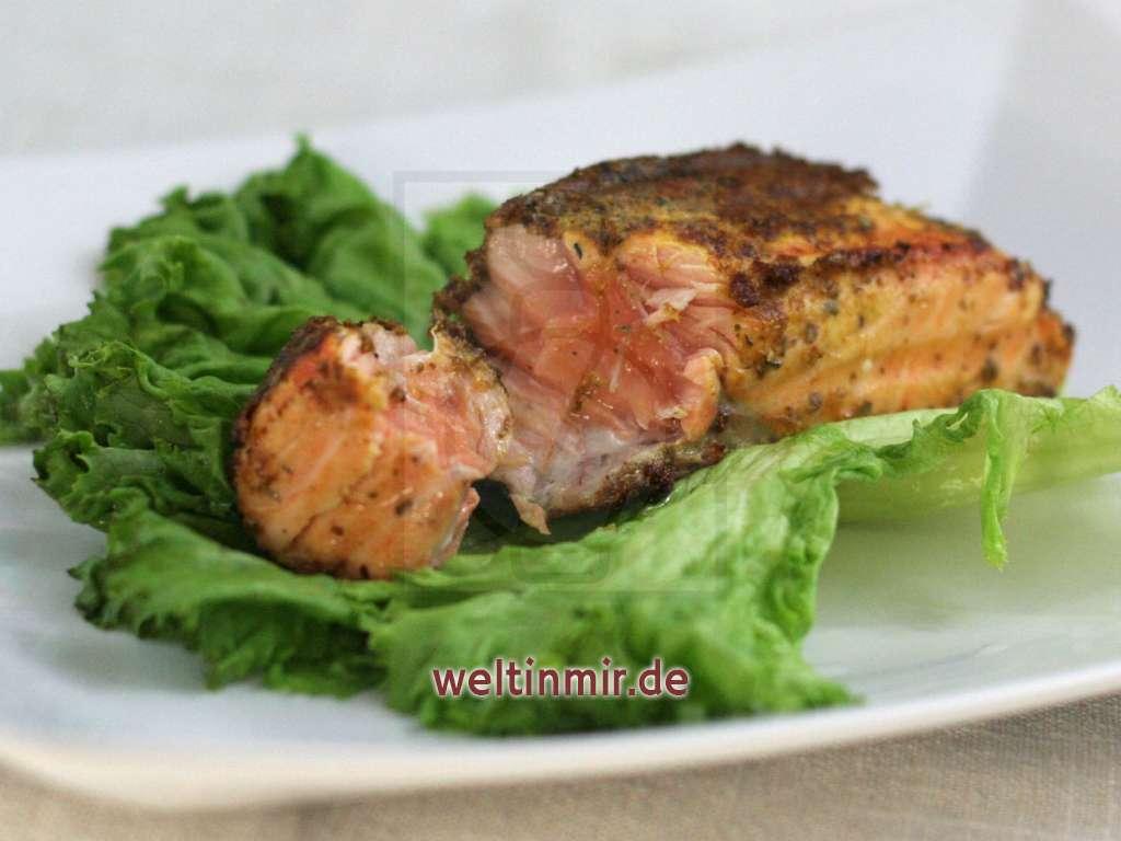 Lachs in einer Panade aus Kräutern und Senf • Rezept | weltinmir.de