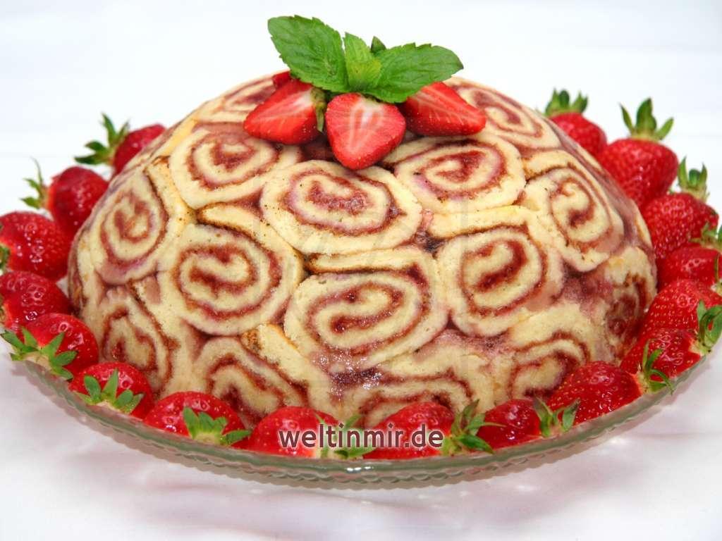 Erdbeertorte aus Roulade • Rezept   weltinmir.de