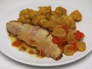Gebratene Schweinekeule mit Wurzelgemüse